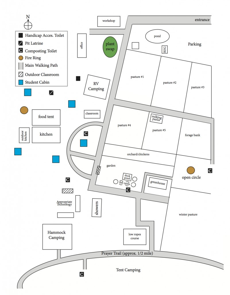 Map of H.E.A.R.T. Village FL Permaculture Convergence 2015